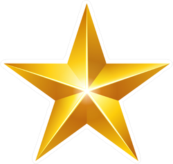 Elegant 3D Gold Star Sticker
