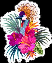 Elegant Floral And Zoo Composition Illustration Sticker