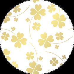 Elegant Golden Pattern Lucky Clovers Sticker
