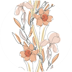Elegant Pattern With Daffodils And Iris Flowers Sticker