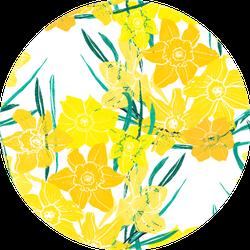 Elegant Seamless Pattern With Daffodil Flowers Sticker