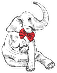 Elephant With Red Bow Sticker