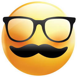 Emoji With Mustache And Glasses Sticker