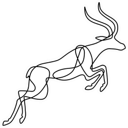 Endless Line Art Illustration Of Antelope Sticker