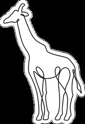 Endless Line Art Illustration Of Giraffe Sticker
