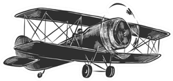 Engraved Style Illustration Sketch Of Airplane Sticker