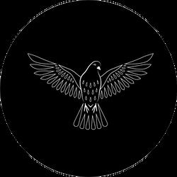 Engraving Of Stylized Dove On Black Background Sticker
