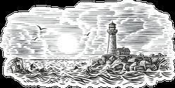 Engraving Style Illustration Of Lighthouse Beacon Sticker