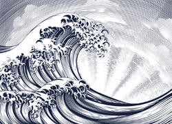 Engraving Style Wave and Rising Sun Sticker