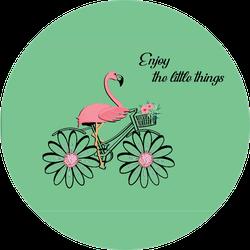 Enjoy The Little Things Flamingo On Flower Bike Sticker