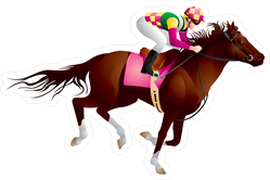 Equestrian Sport Horse And Jockey Sticker