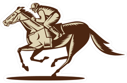 Etched Illustration Of A Horse And Jockey Racing Sticker