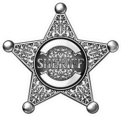 Etched Sheriff Star Badge Sticker