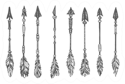 Ethnic Arrow Set In Sketch Sticker