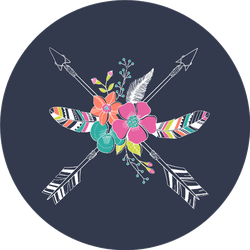 Ethnic Arrows, Feathers And Flowers Sticker