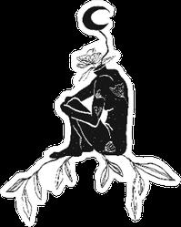 Ethnic Boho Woman Figure With Moon Sticker