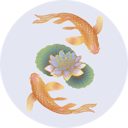 Ethnic Fish Koi Carp With Water Lotus Flowers Sticker