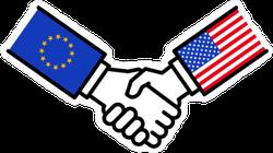 EU USA Flags Handshake Sticker