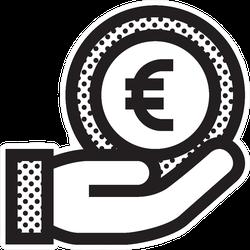 Euro Coin In Hand Sticker