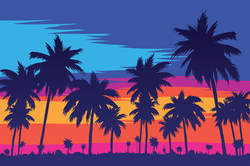Evening On The Beach With Palm Trees Sticker