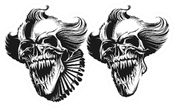 Evil Clown Skull Duplicate Detailed Sticker