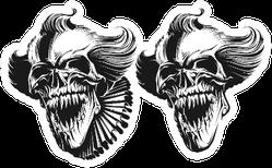 Evil Clown Skull Duplicate Detailed Sticker