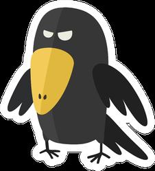 Evil Crow Bird In Cartoon Style Sticker