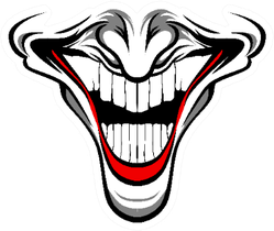 Evil Lower Clown Face With Red Lips Sticker