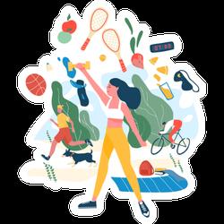 Exercise Illustration Sticker