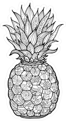 Exotic Pineapple With Floral Pattern Sticker