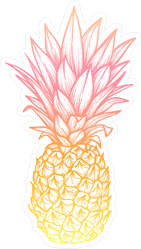 Exotic Pink and Yellow Pineapple Sticker