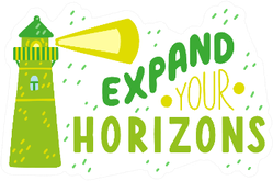 Expand Your Horizons Green Lighthouse Sticker