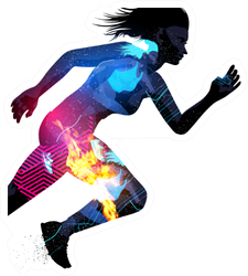Exposure Effect Illustration Of A Running Sports Woman Sticker