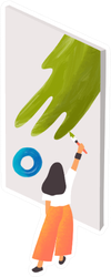 Expressionist Artist At Work Illustration Sticker