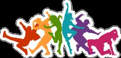 Expressive Multicolor Dancers Sticker