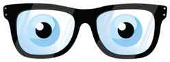Eye Glasses Cartoon And Eye Balls Sticker