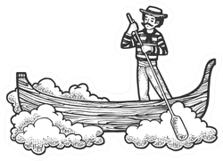 Fabulous Flying Gondola Boat Sketch Sticker
