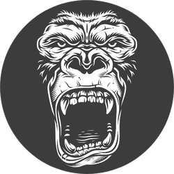 Face Of Gorilla Isolated On Black Sticker