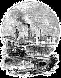 Factory Near River & Train Tracks Illustration Sticker