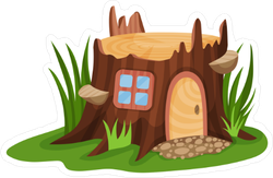 Fairy Tale Tree Stump House Sticker