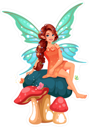 Fairy with Braided Hair on Mushroom Sticker