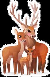 Family of Red Deer Sticker