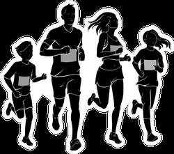 Family Running Race Sticker