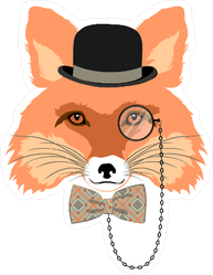 Fancy Fox with hat and Monocle Sticker
