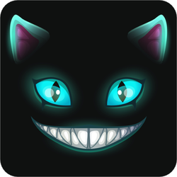 Fantasy Scary Smiling Cat Face Sticker