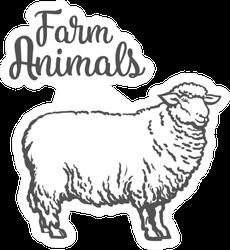 Farm Animals White Sheep Sticker