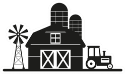Farm Shed With A Grain Tower And Tractor Sticker
