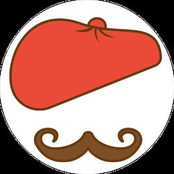Fashion Beret Mustache Sticker
