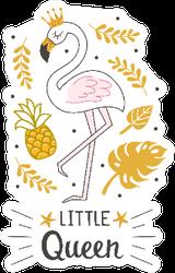 Fashion Cute Flamingo Little Queen Sticker