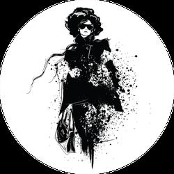 Fashion Girl In Sketch Style Sticker